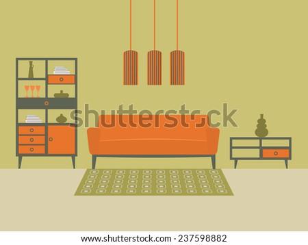 Living room interior design flat vector stock vector for The make room website