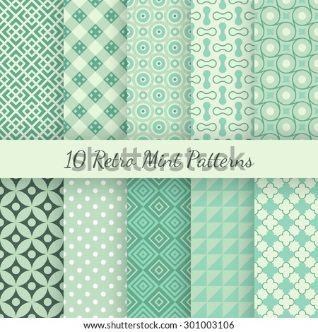 10 Retro mint and emerald vector seamless patterns. Endless texture can be used for wallpaper, pattern fills, web page background, surface textures. Set of shabby vintage geometric ornaments. - stock vector