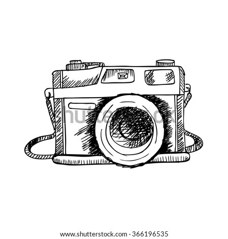 Retro Photo Camera Hand Drawing Illustration Stock Vector 366196535 - Shutterstock