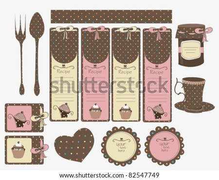 retro recipe tags - stock vector