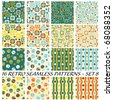16 retro seamless patterns - set 8 - stock photo
