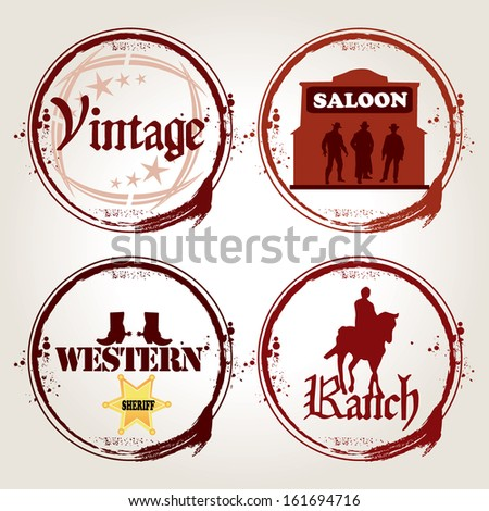4 retro stamps western - stock vector