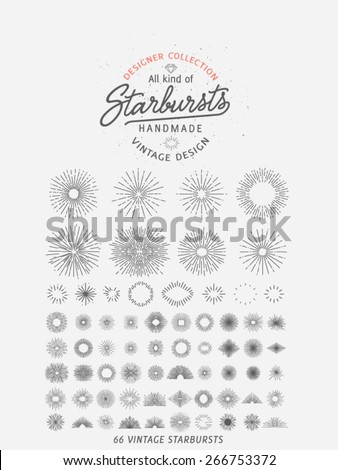 66 Retro Starbursts, Collection for vintage retro logos, signs. - Designers Collection - stock vector