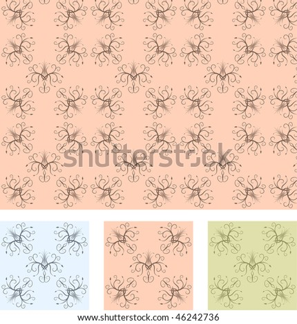 Retro wallpaper seamless pattern with 3 different color samples, vector illustration - stock vector