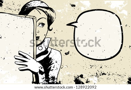 retro woman peeking, speech bubble, holding blank newspaper - stock vector