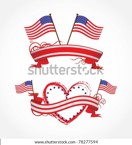 ribbons for July 4Th - stock vector