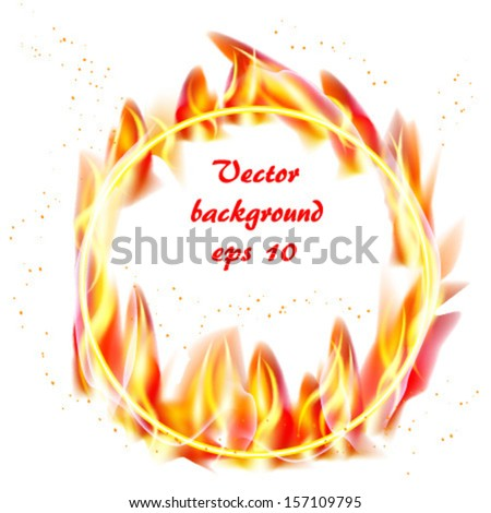 Ring Of Fire Circular Frame Isolated On White Background Vector