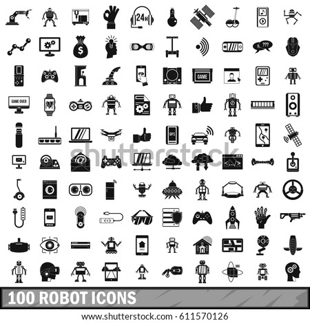 100 robotic icons set in simple style. Illustration of robotic icons isolated vector for any design
