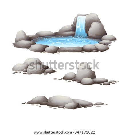 Rocks and stones.Nature elements , water . - stock vector