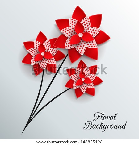 Romantic background with three 3d paper flowers and place for text. This vector illustration can be used as greeting card or wedding invitation. Modern photo realistic design. - stock vector