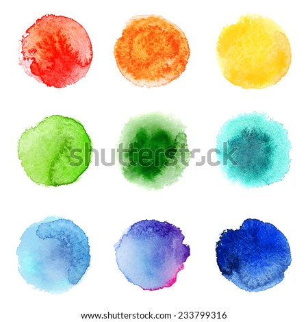 9 round hand drawn watercolor samples - stock vector