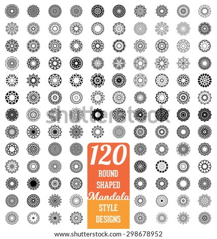 120 Round shaped Mandala style design collection - mega set of calligraphic ornamental elements - stock vector