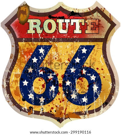route sixty six road sign, fictional design, retro style, vector - stock vector