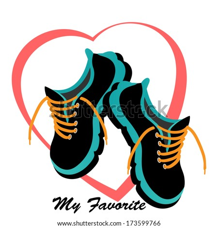 Runners sneakers tennis shoes  heart behind - love heart healthy concept  - stock vector