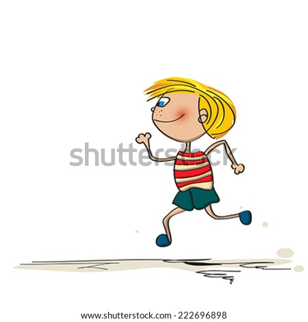 running kid cartoon drawing over white background - Kid Cartoon Drawing