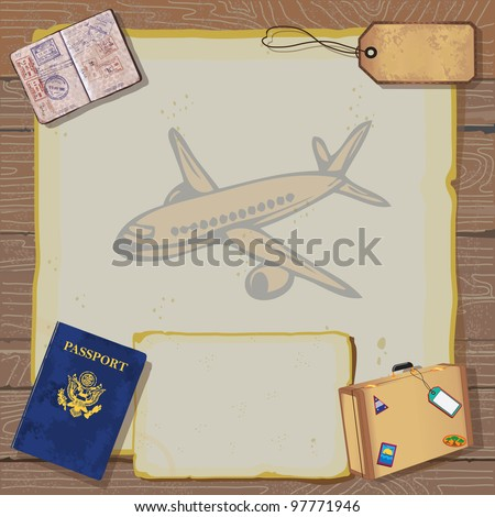 Rustic vintage Bon Voyage Party Invitation with passport, stamps to destinations, luggage and tag on old vintage paper with globe map and airplane set against a woodgrain background. - stock vector