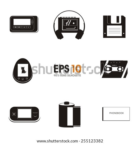 90's items silhouette - stock vector