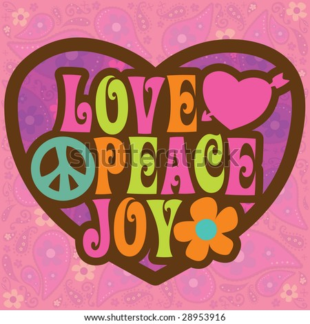 70s Love Peace Joy Illustration - stock vector