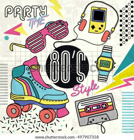 80s Retro Elements Colorful Background Vintage Vectores En Stock 497907358 Shutterstock