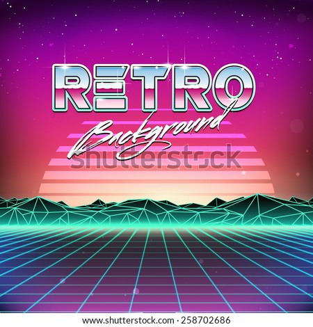 80s Retro Futurism Sci-Fi Background - stock vector