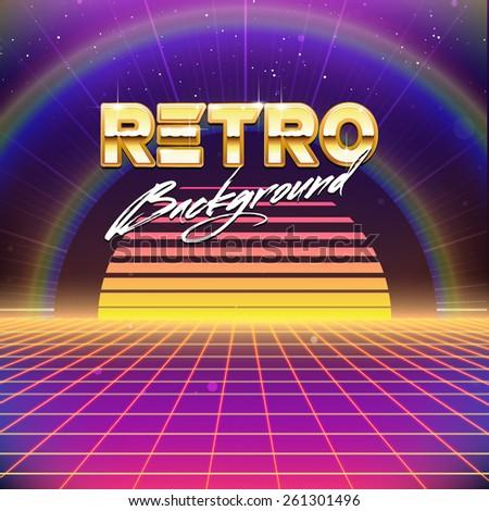 80s Retro Futurism Sci-Fi Background - stock vector