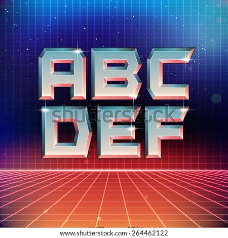 80s Retro Futuristic Font from A to F - stock vector