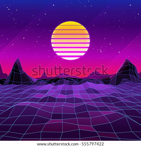 80s retro scifi background sunrise sunset stock vector - Space 80s wallpaper ...