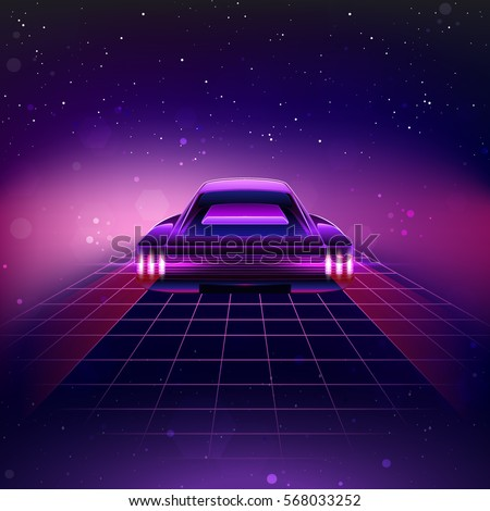 Vector illustration in rank m rank 80s retro sci fi - Space 80s wallpaper ...