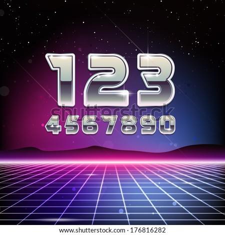 80s Retro Sci-Fi Digits - stock vector