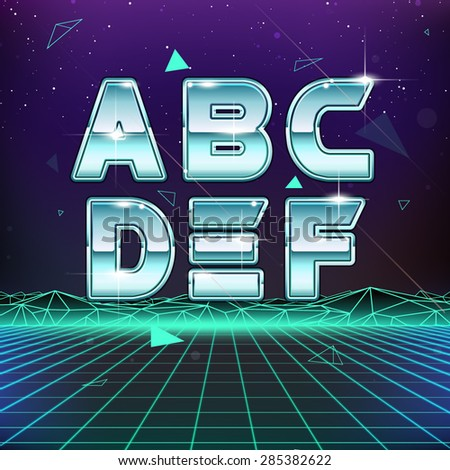 80s Retro Sci-Fi Font from A to F - stock vector