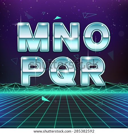 80s Retro Sci-Fi Font from M to R - stock vector