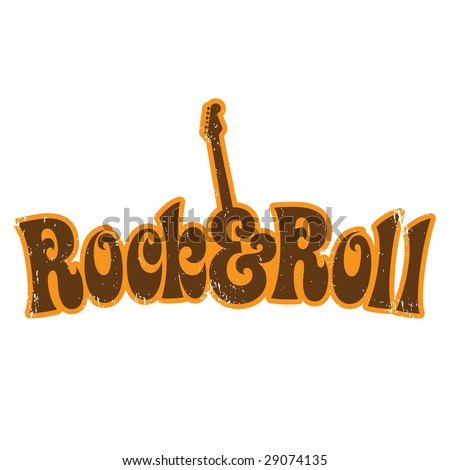 1970s Rock and Roll vintage T-shirt design - stock vector
