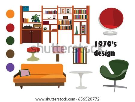 1970s 70s Interior Design Vector Elements Retro Vintage Furniture Illustration Living Room