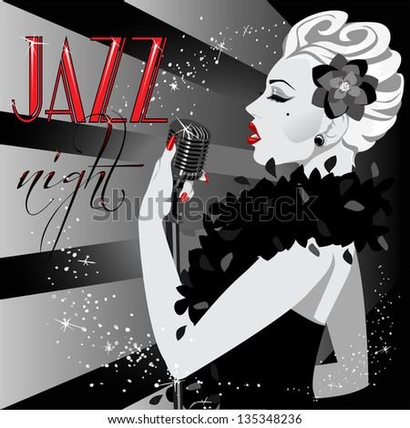 40s, 50s Party Invitation with abstract singing woman and sample text. Black and White poster. - stock vector
