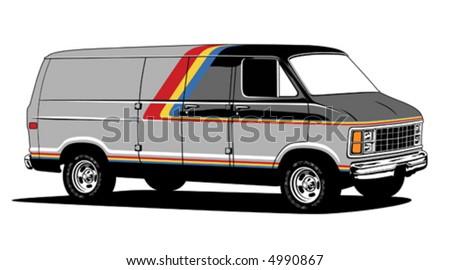 1970s Sport Van - stock vector