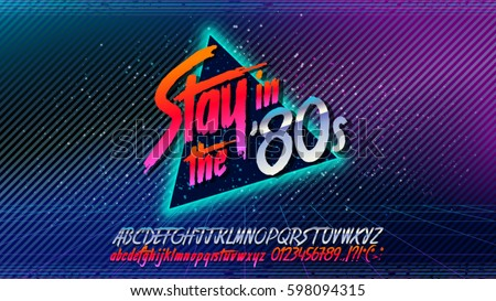 80s stay 80s retro alphabet font stock vector 598094315. Black Bedroom Furniture Sets. Home Design Ideas