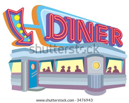 1950s style diner with large neon sign - stock vector