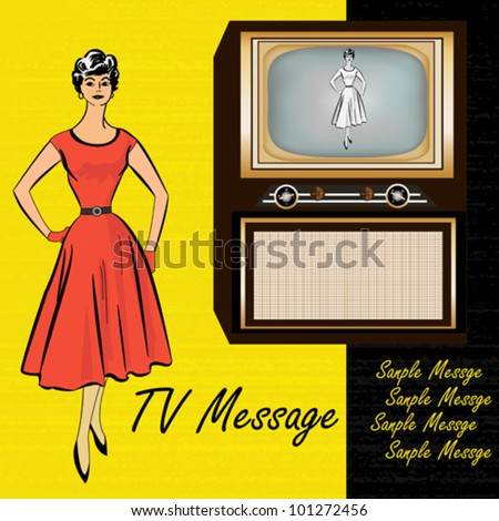 1950's Style Retro Background illustration with a television and a stylish lady - stock vector