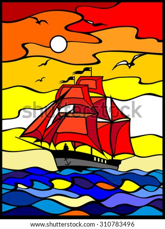 Sailing vessel wich red sails in the sea view. Sunset. Red, yellow, orange, blue background. Stained glass window. It Can be used for flayers, banners, posters. Vector illustration. - stock vector