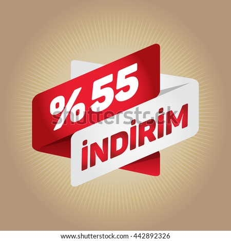 "55% sale arrow tag sign icon. ""Indirim"" (""Discount"" in Turkish) Discount symbol. Special offer label. Gold background."