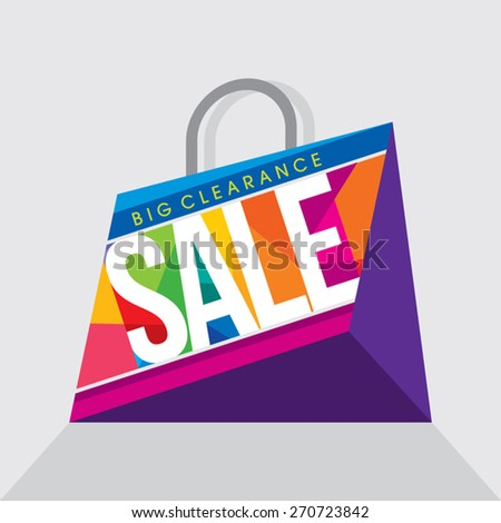 Sale design template. Shopping bag - stock vector
