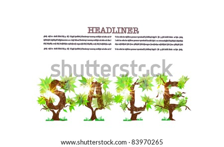 """sale"" made of green trees - stock vector"