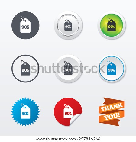 90% sale price tag sign icon. Discount symbol. Special offer label. Circle concept buttons. Metal edging. Star and label sticker. Vector - stock vector