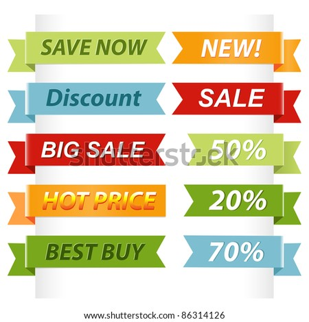 10 Sale Ribbons, Isolated On White Background, Vector Illustration - stock vector
