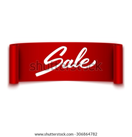 'Sale' text on red ribbon, banner, advertising, vector illustration