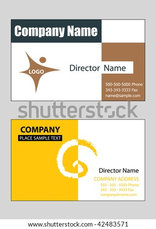 2 samples of business card design in vector format, editable - stock vector