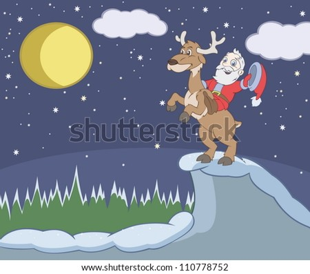 Santa Claus rides the deer - stock vector