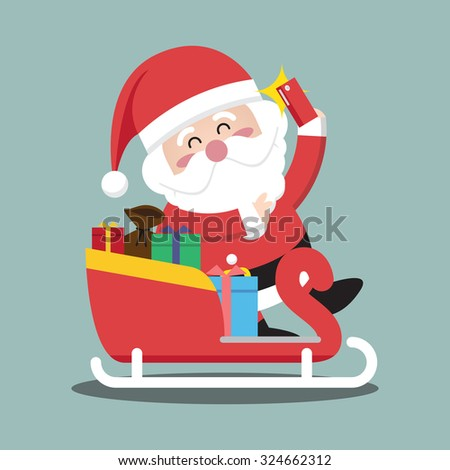Santa Clauses sleigh for christmas character - stock vector