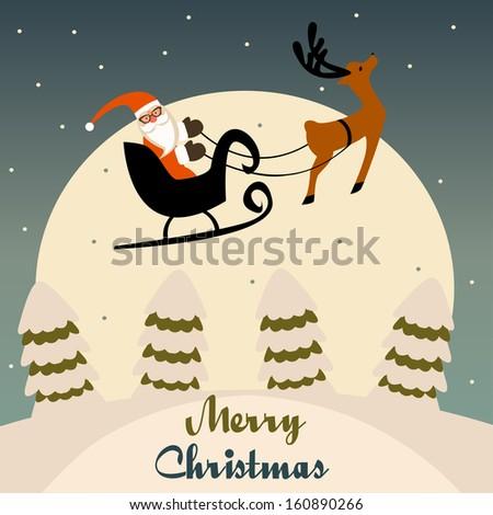 Santa's Sleigh In Christmas Night - stock vector