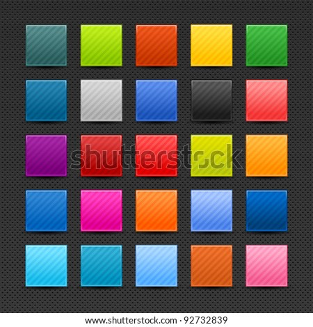 25 satin blank web buttons with light strips. Smooth color square shape icon with black shadow on gray perforated metal background. This vector illustration saved in 10 eps - stock vector